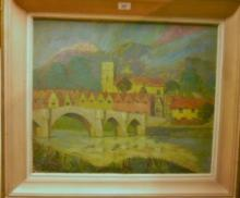 Henry Eric RA (British) - A framed oil on board The Old Bridge, Aylesford exhibited Royal Academy 1957 est: £500-£700