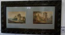 A carved framed pair of watercolours church ruins Southorpe Priory and Augustines Abbey signed H E Kendall 1810 verso est: £100-£150