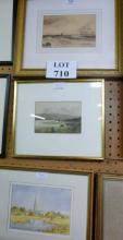 Three various watercolours/drawings to include landscape and ship scenes two signed by artist est: £40-£60