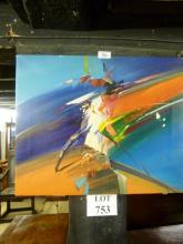 An unframed contemporary abstract oil signed Wilkinson est: £80-£120