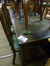 A 19c oak refectory dining table with stretchers seats 10 est: £160-£190
