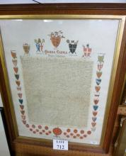 An oak framed and glazed facsimile Magna Carta by Express Permission from the original document in the British Museum, with the Seals of the King's Securities and Shields of ye Barons in Arms,  72 cm x 54 cm est: £30-£50