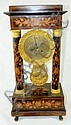 French portico marquetry inlaid clock