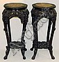 Pr. of Oriental carved marble top tables