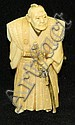 Oriental ivory decorated figurine of warrior