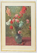Artist Signed Oil on Board Still Life of Flowers