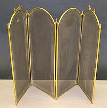 Four Part Brass and Wire Folding Fire Screen