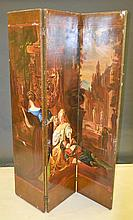 19th Century 3-Panel Canvas Lined Screen
