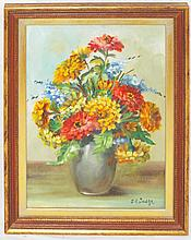 J. E. Judge Oil on Board Still Life of Flowers
