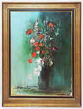 Artist Signed Oil on Canvas Still Life of Flowers