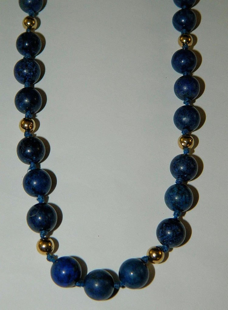 14k gold and blue lapis beaded necklace