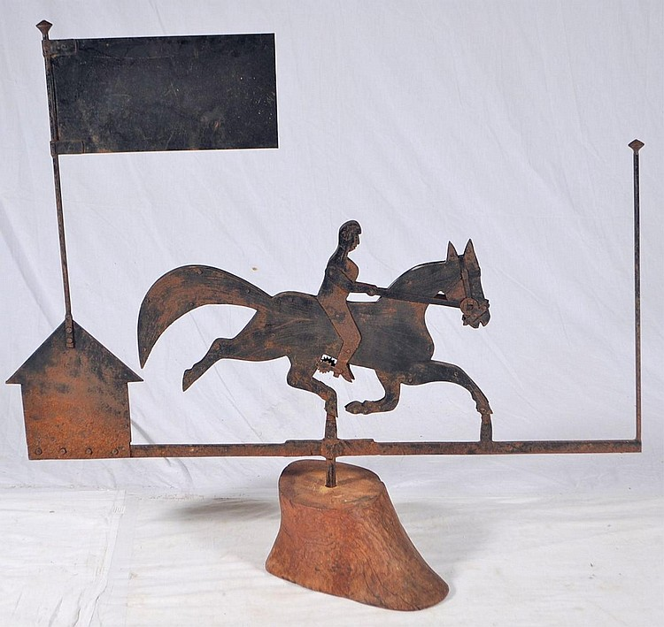 Horse and flag Weather vane on wooden base