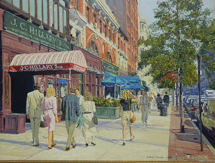 Michael Joseph oil on canvas, city street scene