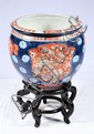 Oriental Hand-Painted Porcelain Bowl on Stand