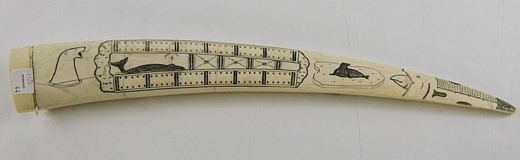 Cribbage Scrimshaw ivory carved tusk