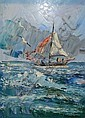 Morris Katz oil on board, sail boat scene