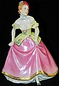 Royal Dux figurine, lady in yellow and pink dress