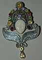 Sterling silver pendant with face & colored stones