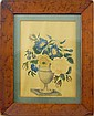 19th century water color in bird's eye maple frame