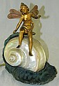 Bronze Angel fairy lamp with iridescent shell