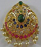 18 kt., diamond, ruby, sapphire and emerald pin