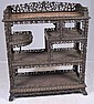 Ornate rosewood marble top etagere