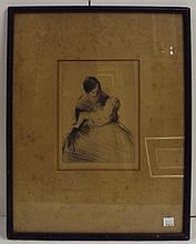 Pencil Signed Engraving of Mother and Child