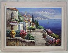 Oil on Canvas of Mediterranean Scene