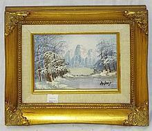 Artist Signed Oil on Board Mountain Landscape
