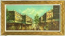 Oil on Canvas of Street Scene Signed Ford