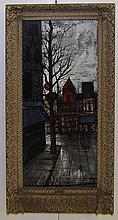 E. Vetere Oil on Canvas Moulin Rouge Paris Scene
