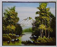 Oil on Canvas Landscape Signed Walker