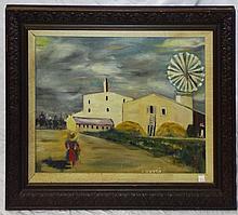 Oil on Canvas Windmill Scene Signed A. Verdi