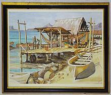 Watercolor Dock Scene Signed S. Correia