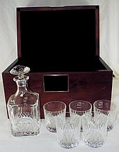 Crystal Decanter and Six Cups in Wooden Case