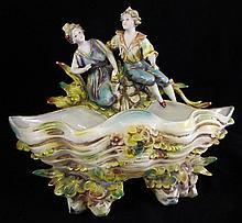 Hand Painted Figural Porcelain Bowl