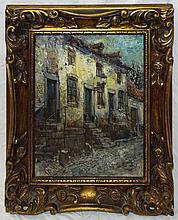 W. Neuhof Oil on Canvas Street Scene