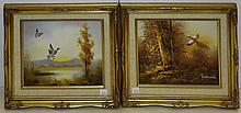 Pair of Oil on Board Paintings in Matching Frames