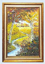 Oil on Board, Fall Landscape with Stream