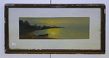 Howard Gray Watercolor Moonlight Beach Scene