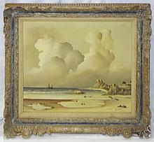 Jon Holt Oil on Canvas Beach Scene