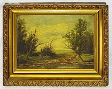 Pair of Oil on Board Landscapes in Gilt Frames