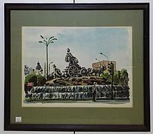 Artist Signed Watercolor City Scene