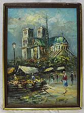 Burnett Oil on Canvas Street Market with Cathedral