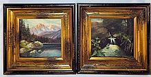 Pair of Artist Signed Oil on Board Landscapes