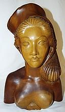 Wood Carved Head Bust of Woman