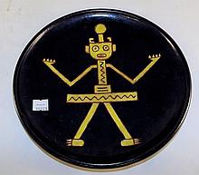 Figural Decorated Pottery Plate
