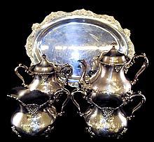 Poole Silver Plate Five Piece Tea Set
