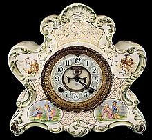 Mantle Clock in Decorated Porcelain Case