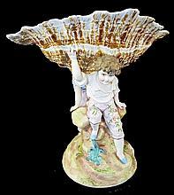 Hand Painted Porcelain Figural Center Bowl